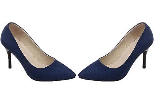 tacchi A Smerigliato Chiusi Weenfashion Donne Punta Solido scarpe Pompe Punta Blu Hw5pqf
