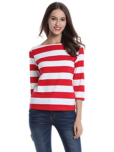 Red and white striped shirt womens is shirt for Boat neck t shirt women s