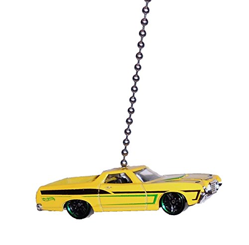 Hot Wheels FORD Car & Truck Ceiling FAN PULL light chain ('72 Yellow Ford Ranchero truck car)