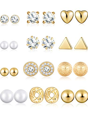 BBTO 24 Pairs Stud Earrings Crystal Pearl Earring Set Ear Stud Jewelry for Girls Women Men, Silver and Gold (Gold) -