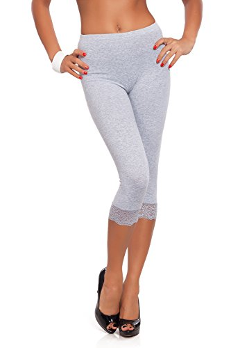Futuro Fashion Cropped 3/4 Lenght Cotton Leggings with Lace All Colours & All Sizes