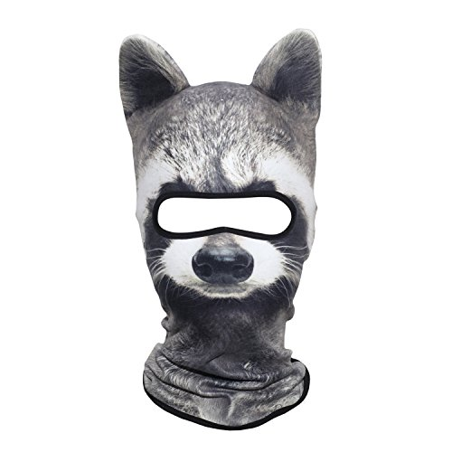 WTACTFUL 3D Animal Ears Fleece Thermal Hood Balaclava Neck Warmer Face Mask for Cold Weather Winter Outdoor Sport Motorcycle Cycling Riding Hunting Ski Snowboard Halloween Party Raccoon MDD-16