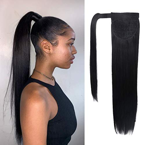 SEIKEA Clip in Ponytail Extension Wrap Around Long Straight Hair Extension 28 Inch Synthetic Hairpiece - Black (Long Straight Hair Extensions)