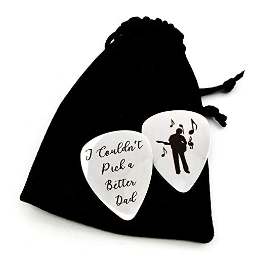 Father's Day gifts - I Couldn't Pick a Better Dad Guitar Pick, Stainless Steel Personalized Dad Gifts from Daughter Son, Christmas Birthday Gifts for Dad - 2 pack