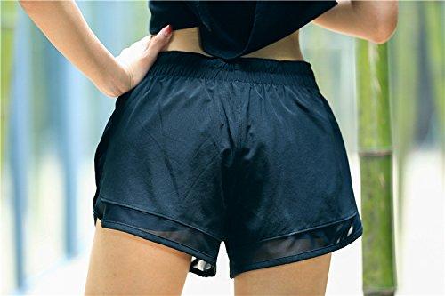 Nero Rapida Elastico Women Moda Vita Shorts Due Sportivi Yoga Pantaloni Running Casual Asciugatura Pezzi Fake Estive Corti In Pantaloncini Corti Grazioso Donna Giovane qEwFYB