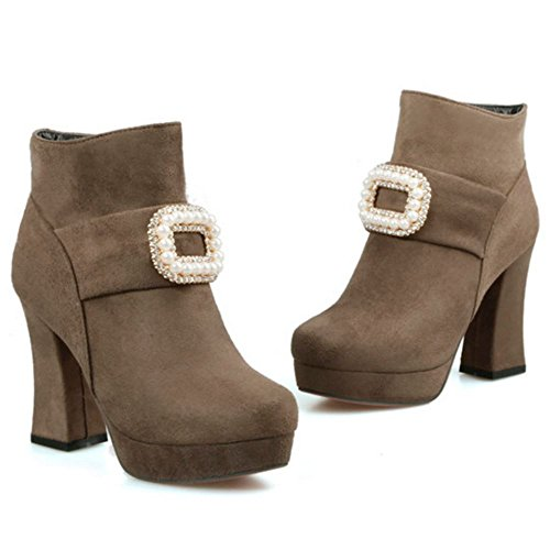 RAZAMAZA Women Fashion Rhinestones Decor Block High Heel Ankle Booties Khaki UonKqqD