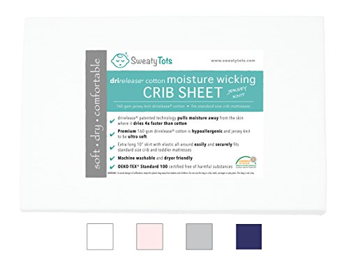 Moisture Wicking Fitted Crib Sheet for Sweaty, Leaky, Drooly Sleepers - Jersey Knit, Fits Standard Crib and Toddler Mattresses, Features Patented Drirelease(R) Moisture Wicking Technology (White) by Sweaty Tots
