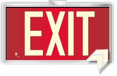 (Photoluminescent Exit Sign Red - Framed Flag/Ceiling Mount (Removable Arrows) Code Approved UL 924 / IBC / NFPA)