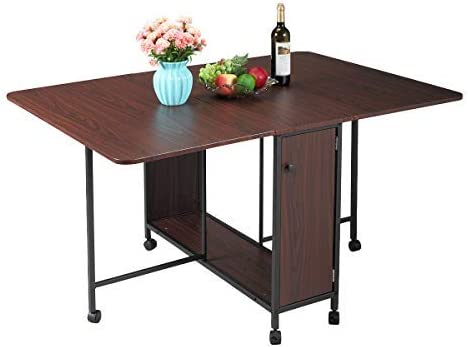 JAXSUNNY Multi-use Kitchen Dining Table Desk Movable Folding Table Versatile Table Desk with a Shelf Beneath, a Door, Convenient for Storage, Kitchen Dining Room Furniture, Dark Brown