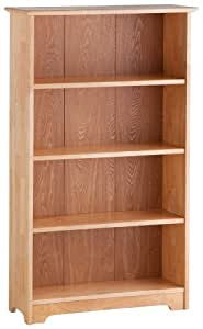 Atlantic Furniture Windsor 4 Tier Bookshelf, Natural Maple