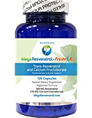 """New! Mega Resveratrol, 99% Pure, Micronized Trans-Resveratrol Plus FruiteX-B, 120 Capsules, Purity Certified. Absolutely no Toxic""""Inactive Ingredients"""" Added."""