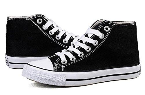 Tolle Sportliche High-Top College Leinwand Schnürer Damen Schuhe Kult Sneaker , black , 44