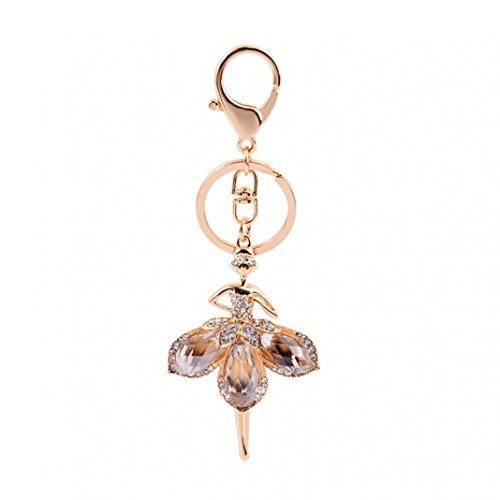 eroute66 Bling Rhinestone Ballet Dancing Girl Keychain Key Ring Chain Holder Bag Decor ()