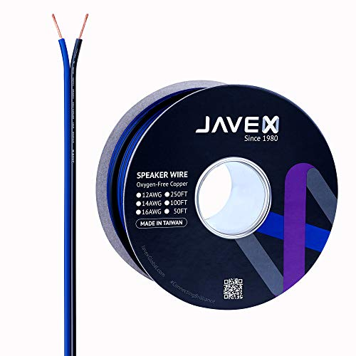 JAVEX Speaker Wire 16-Gauge AWG [Oxygen-Free Copper 99.9%] Cable for Hi-Fi Systems, Amplifiers, AV receivers and Car Audio Systems, Blue/Black, 50FT