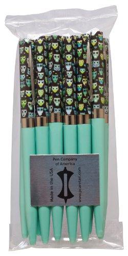PCA USA Made Twist Pens, 12-Pack Bulk Owl Design with Aqua Barrel, Black Ink, 12 Pens (PTRR01-12BULK)