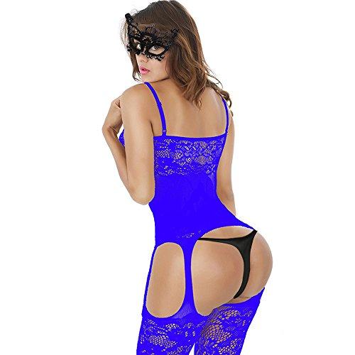 640511370e9 Blue QueensHot Sexy Sheer Lingerie Babydoll Suspender Corset Nightie  Leotard Body Suit Stocking With Venetian Eyemask