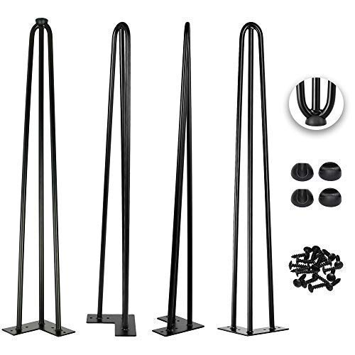 28 Inch Hairpin Legs 1/2 Inch Tick - Satin Black - Leg Protectors, Screws, Set of 4 - Easy to Install - Metal Legs - Desk Legs - Furniture Legs ()