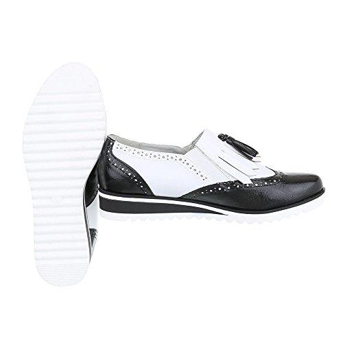 Ital-Design - Zapatos Planos con Cordones Mujer Schwarz Weiß 6592-P