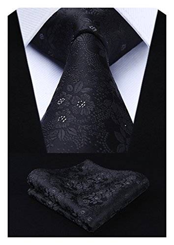 Designer Neck Tie - HISDERN Men's Floral Tie Handkerchief Jacquard Woven Flower Necktie and Pocket Square Set