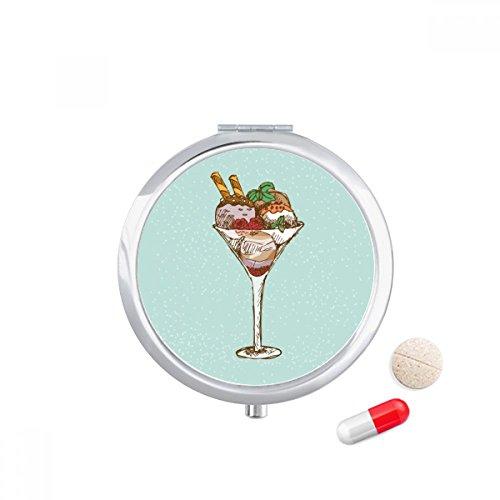 Leaves Flower Goblet Ice Cream Ball Travel Pocket Pill case Medicine Drug Storage Box Dispenser Mirror Gift