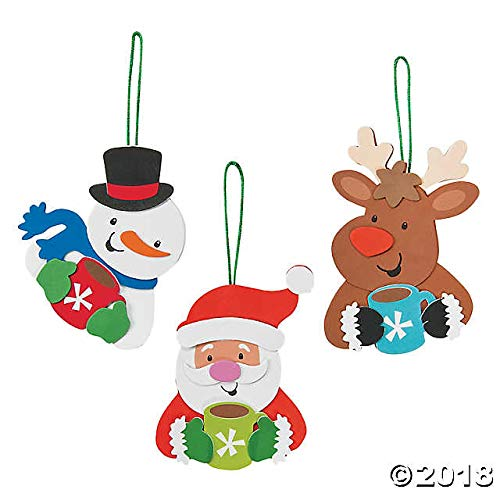Fun Express Holiday Characters Santa, Reindeer, Snowman Foam Ornament Craft Kit-Makes 12