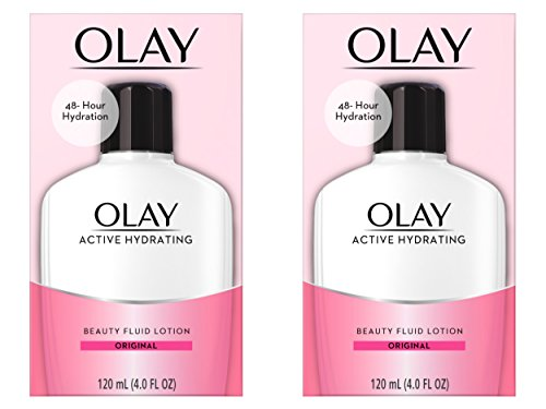 Olay Active Hydrating Beauty Fluid Lotion, Original Facial Moisturizer, 4 Oz. (Pack of 2) Packaging may Vary ()