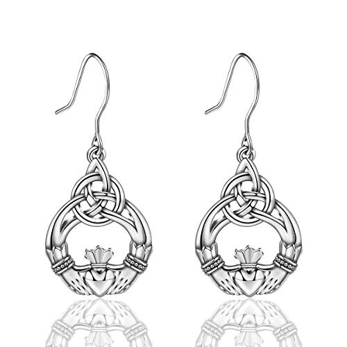 Celtic Earring - INFUSEU Claddagh Celtic Knot Trinity Triquetra Triangle Earrings Sterling Silver Good Luck Ear Drop Dangle Hook Small