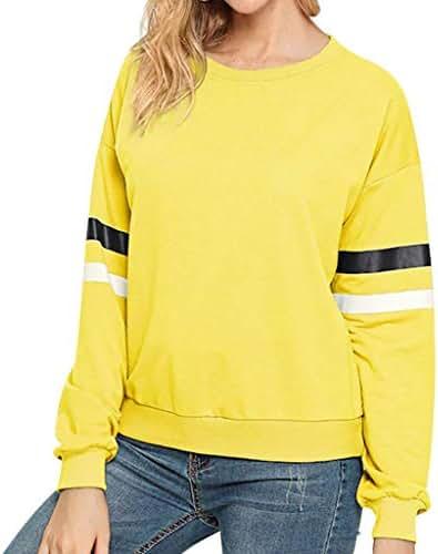 QIQIU Stripe Print Fluffy Tops, 2019 Womens Casual O Neck Fashion Long Sleeve Sweatershirt Tops Blouses