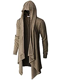 Men's Casual Regular Fit Cardigan Shawl Collar Long Line with No Button