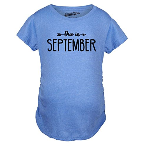 Crazy Dog TShirts - Maternity Due In September Funny T shirts Pregnant Shirts Announce Pregnancy Month Shirt (Blue) 3XL - damen - 3XL