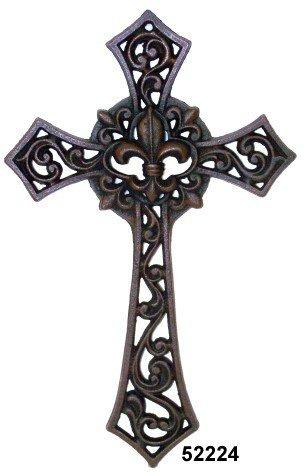 Cast Iron Fleur De Lis Cross