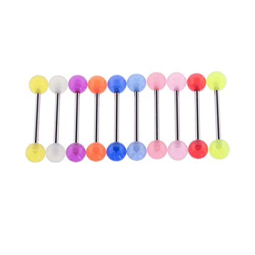 Yellow Tongue Ring (Steel Tongue Ring Barbell w/Glow in the Dark Acrylic Balls 14 Gauge)