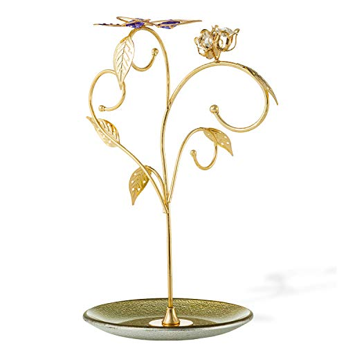 24k Gold Plated Jewelry Stand Gift for Thanksgiving, Christmas, New Year| Elegant Floral -Butterfly Design Decor