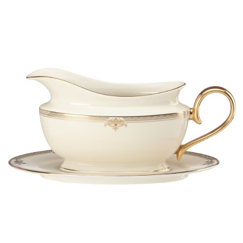 Lenox Republic Sauce Boat and Stand, - Sauce Boat Gold