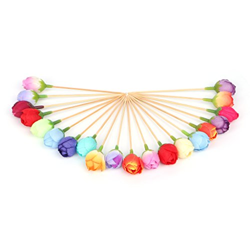 OTGO 20 Pcs/Pack Disposable Bamboo Cocktail Wedding Brithday Party Picks Food Fruit Fork Rose Toothpick ()