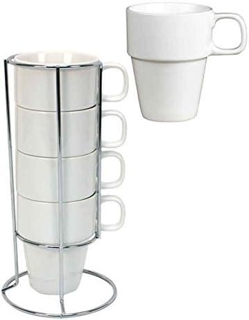 Amazon Com Set Of 4 White Porcelain Coffee Mugs With Stacking Rack 10 Oz Each Coffee Cups Mugs