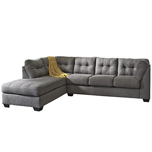 Flash Furniture Benchcraft Maier Sectional with Left Side Facing Chaise in Microfiber, Charcoal