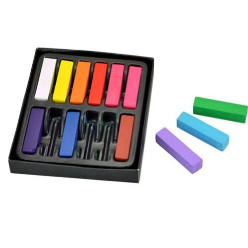 NEW DIY Non-toxic Temporary Hair Chalk Dye Soft Pastels Salon Kit 12 Short by nj365 by nj365 (Image #1)
