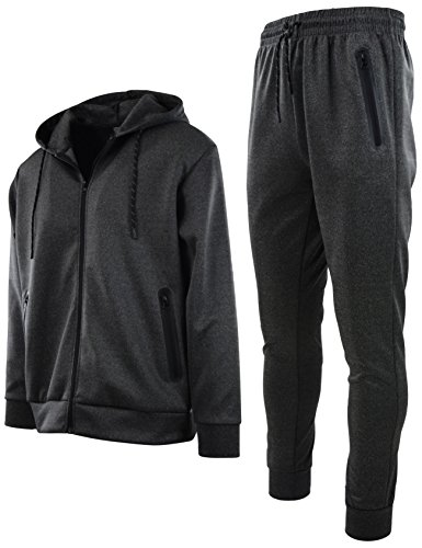 Mens Athletic 2 Piece Tracksuit Set (L, 422-Charcoal) ()