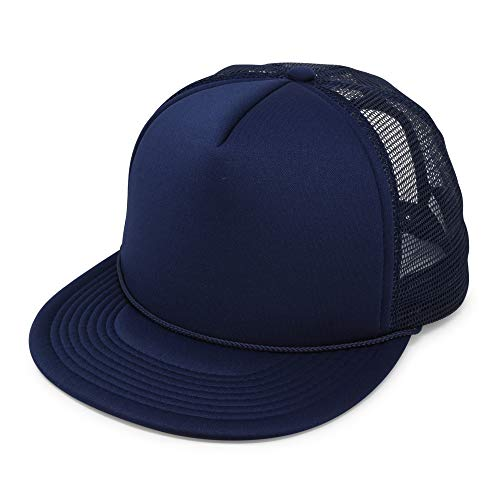 - Flat Billed Trucker Cap with Mesh Back in Navy Blue