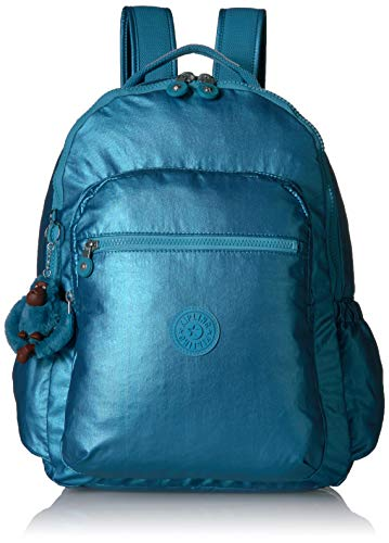 Kipling Seoul Go Laptop, Padded, Adjustable Backpack Straps, Zip Closure, Turkish Tile Metallic