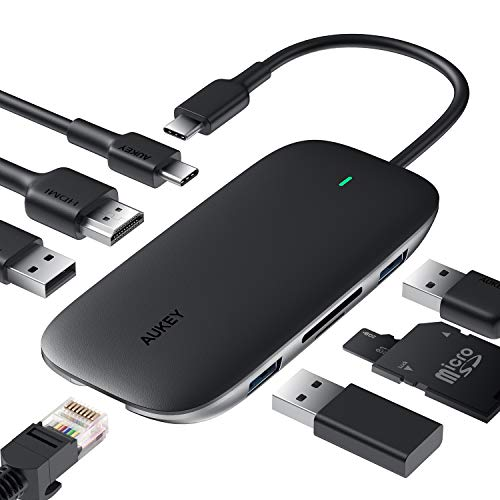 🥇 USB C Hub AUKEY 8-in-1 Type C Adapter with Ethernet Port