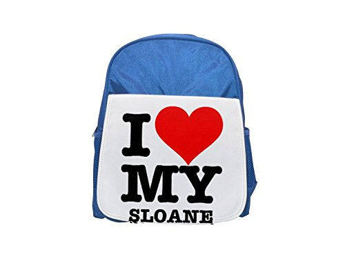I LOVE MY SLOANE printed kid's blue backpack, Cute backpacks, cute small backpacks, cute black backpack, cool black backpack, fashion backpacks, large fashion backpacks, black fashion backpack Fotomax