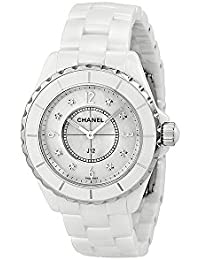 J12 Mother of Pearl Diamond Dial White Ceramic Unisex Watch H3214. CHANEL