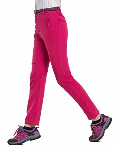 vertast para mujer resistente al viento repelente al agua altamente flexible térmico forro polar senderismo Camping al aire libre Pantalones softshell Pantalones rosa (b)