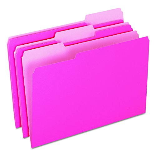 Pendaflex Two-Tone Color File Folders, Legal Size, Pink, 1/3 Cut, 100/BX (153 1/3 PIN) ()