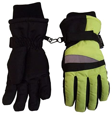 N'Ice Caps Boys Neon Reflector Thinsulate and Waterproof Ski Gloves