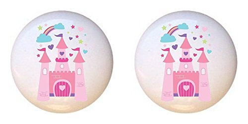 SET OF 2 KNOBS - Castle Design #016 - Fairy Tale Princess - DECORATIVE Glossy CERAMIC Cupboard Cabinet PULLS Dresser Drawer KNOBS (Princess Drawer Pull)