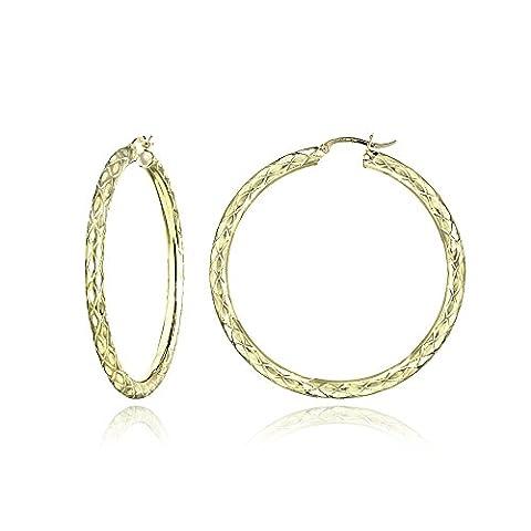 14K Gold Diamond-Cut 4mm Lightweight Large Round Hoop Earrings, 57mm - Hammered Round Hoop