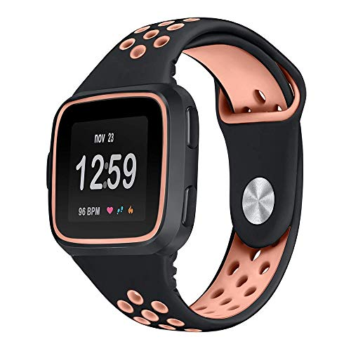 (Peacur ღ•ღ Soft Silicone Bands Compatible Fitbit Versa, with Protective Case Frame Two-Toned Perforated Breathable Replacement Straps Sports Women Men 5.5-8.1inch)